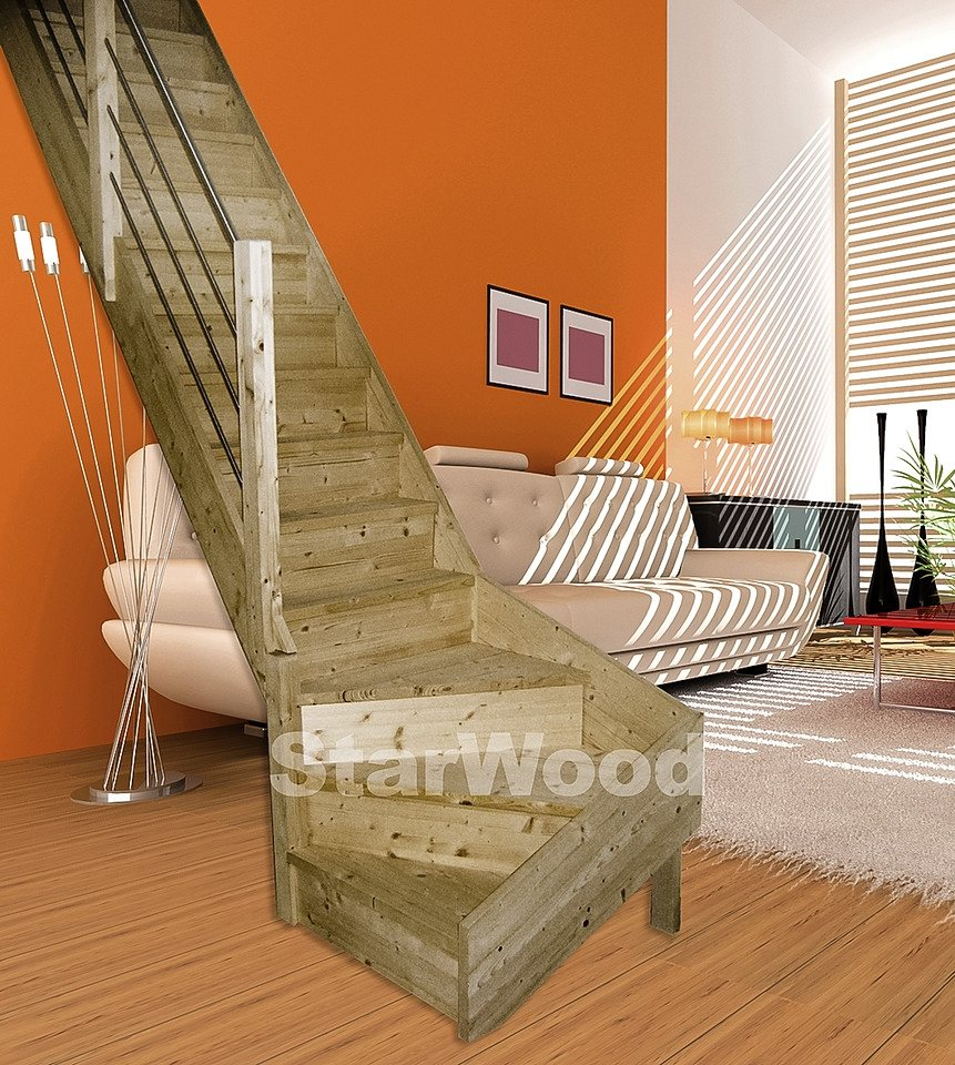 starwood raumspartreppe korfu geschl stufen 1 4 links gewendelt holz edelstahlgel li. Black Bedroom Furniture Sets. Home Design Ideas