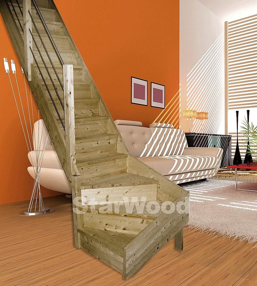 STARWOOD Raumspartreppe »Korfu«, geschl. Stufen, 1/4 links gewendelt, Holz-Edelstahlgel. li