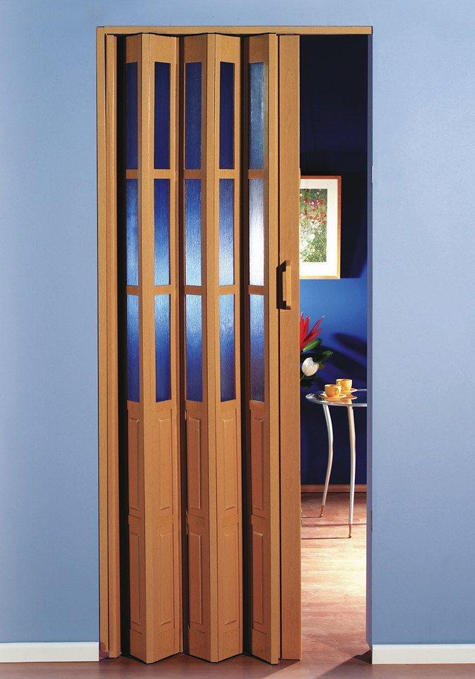 Kunststoff-Falttür, Breite bis 100 cm, buchefarben in buchefarben