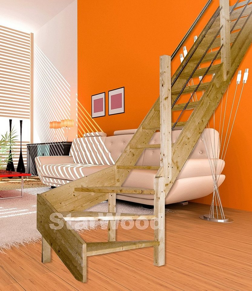 starwood raumspartreppe korfu offene stufen 1 4 rechts gewendelt holz edelstahlgel re. Black Bedroom Furniture Sets. Home Design Ideas