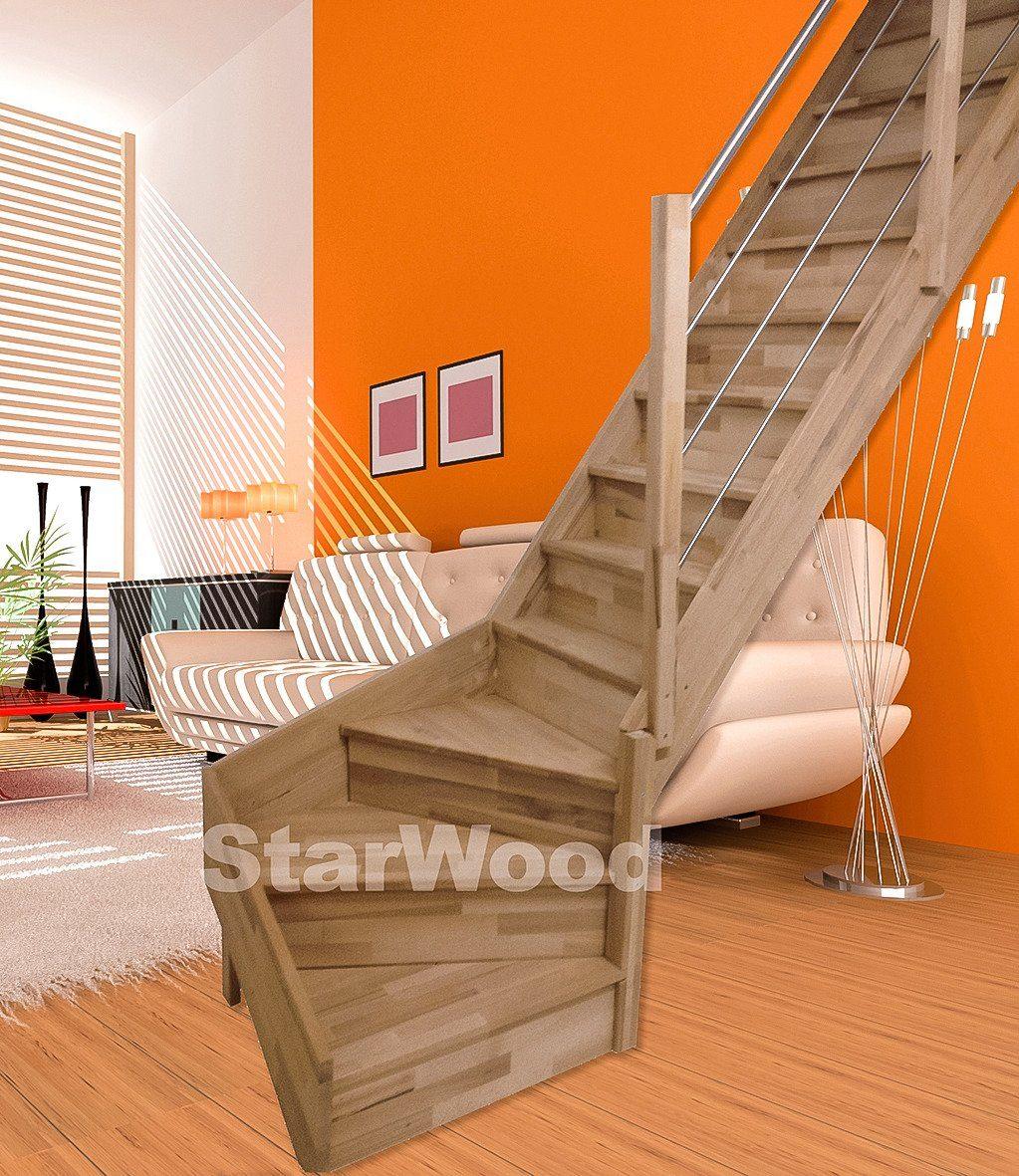 STARWOOD Raumspartreppe »Rhodos«, geschl. Stufen, 1/4 rechts gewendelt, Holz-Edelstahlgel. re