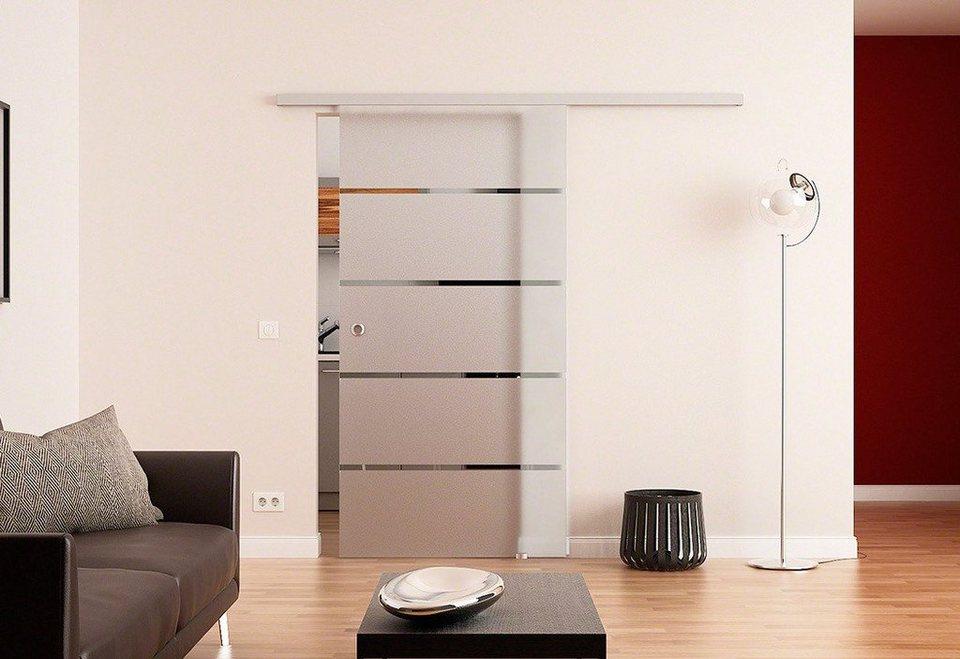 Glasschiebetür »Dorma Agile 50, 4 Streifen« mit Muschelgriff in weiß