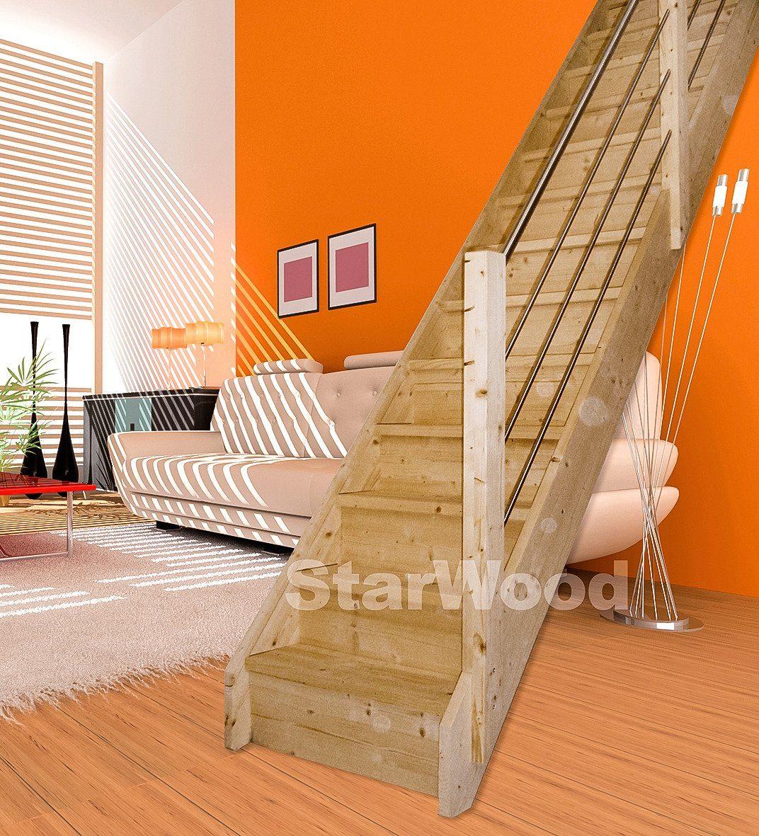 STARWOOD Raumspartreppe »Korfu«, geschl. Stufen, gerade, Holz-Edelstahlgeländer rechts