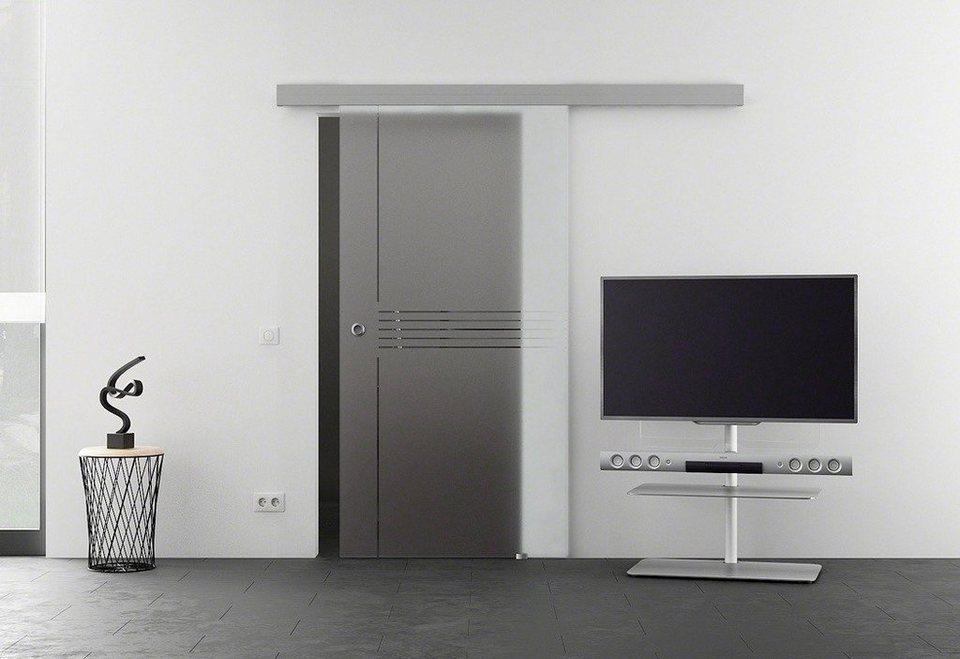 Glasschiebetür »Eco Idea« mit Muschelgriff in weiß