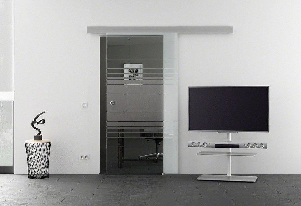 Glasschiebetür »Eco Horizont« mit Muschelgriff in weiß
