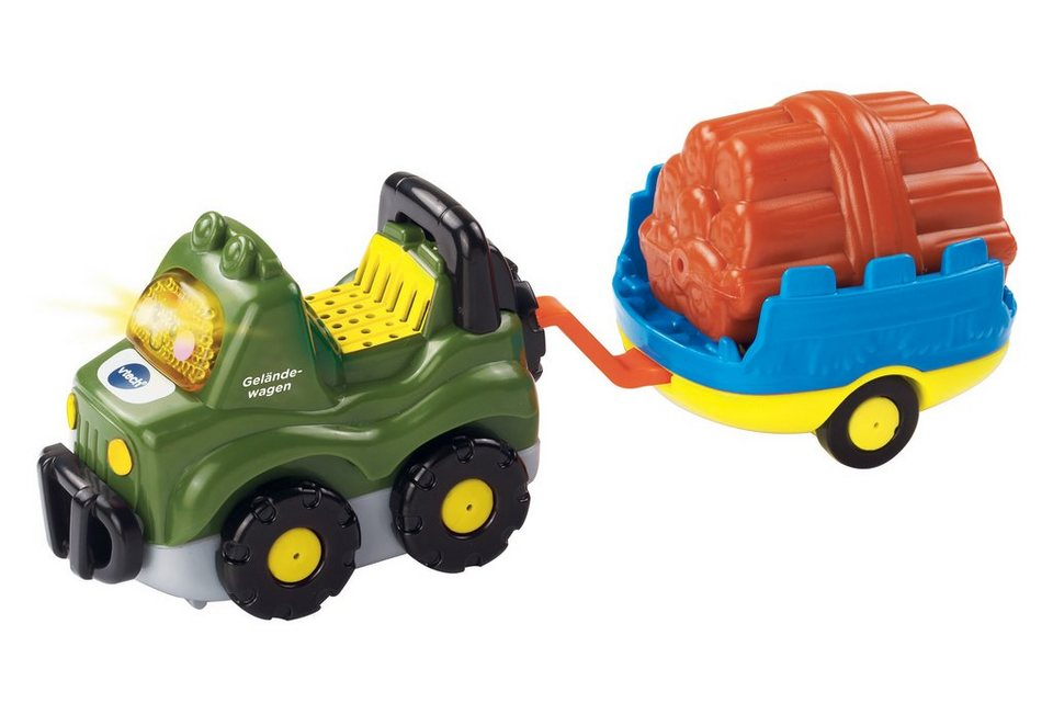 Set: Geländewagen & Anhänger mit Holz, »VTech Baby, Tut Tut Baby Flitzer«, VTech
