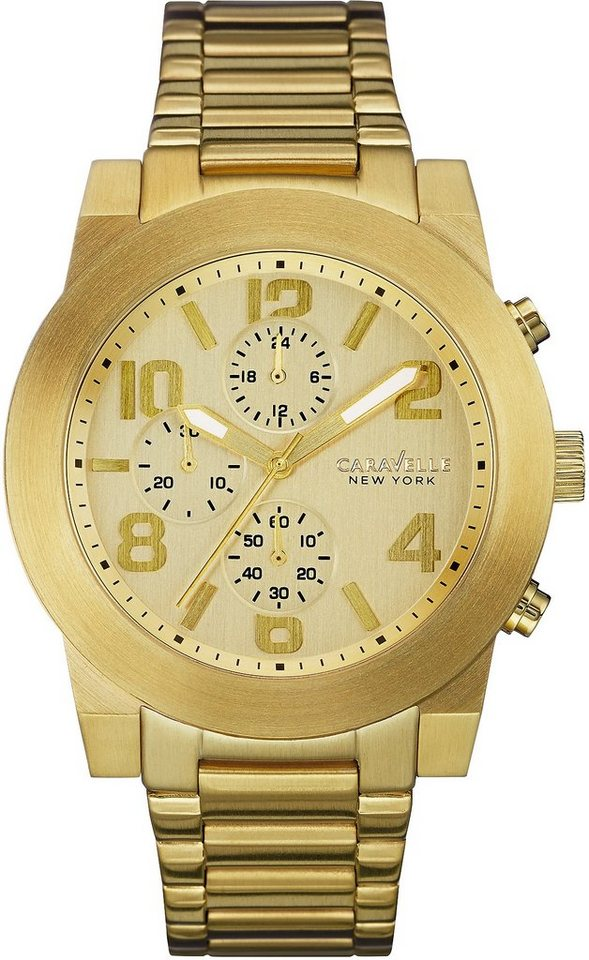 Caravelle New York Chronograph »Sport, 44A105« in goldfarben