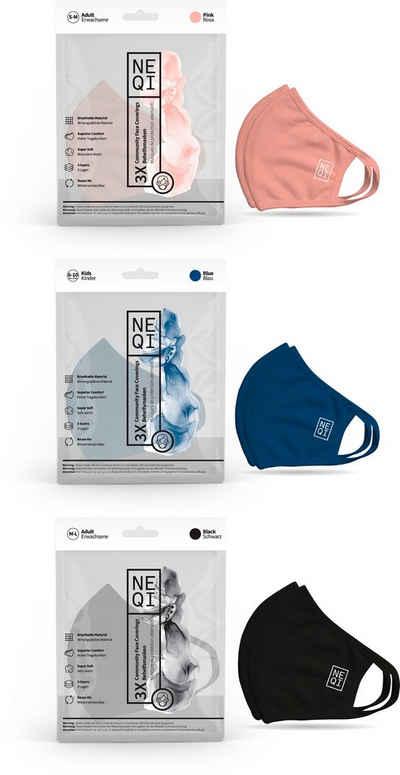 NEQI Mund-Nasen-Masken, Packung, 3-teilig, für die ganze Familie