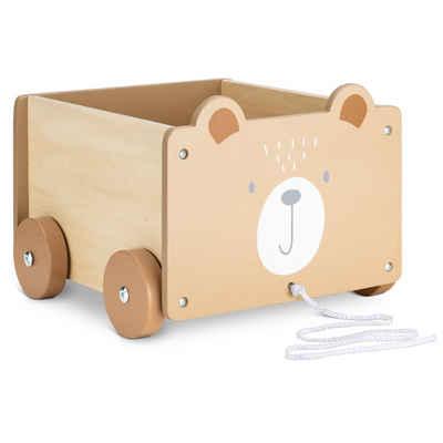 Navaris Spielzeugtruhe, Spielzeugkiste Kiste Aufbewahrung für Spielzeug - Aufbewahrungsbox für Kinderzimmer - 26,4x20x25,8cm Spielkiste für Kinder - mit Rädern