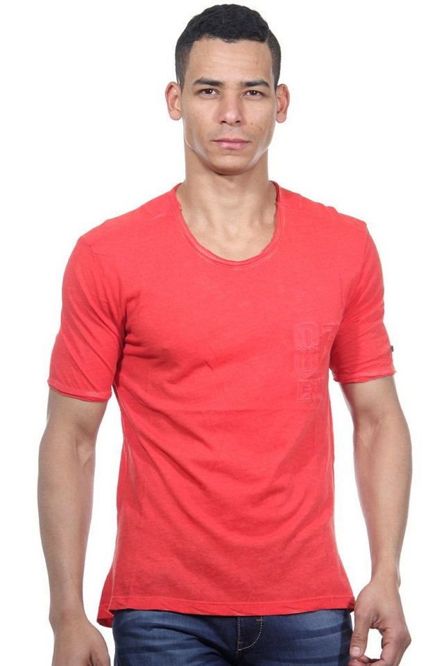 OBOY Streetwear T-Shirt Rundhals slim fit in rot