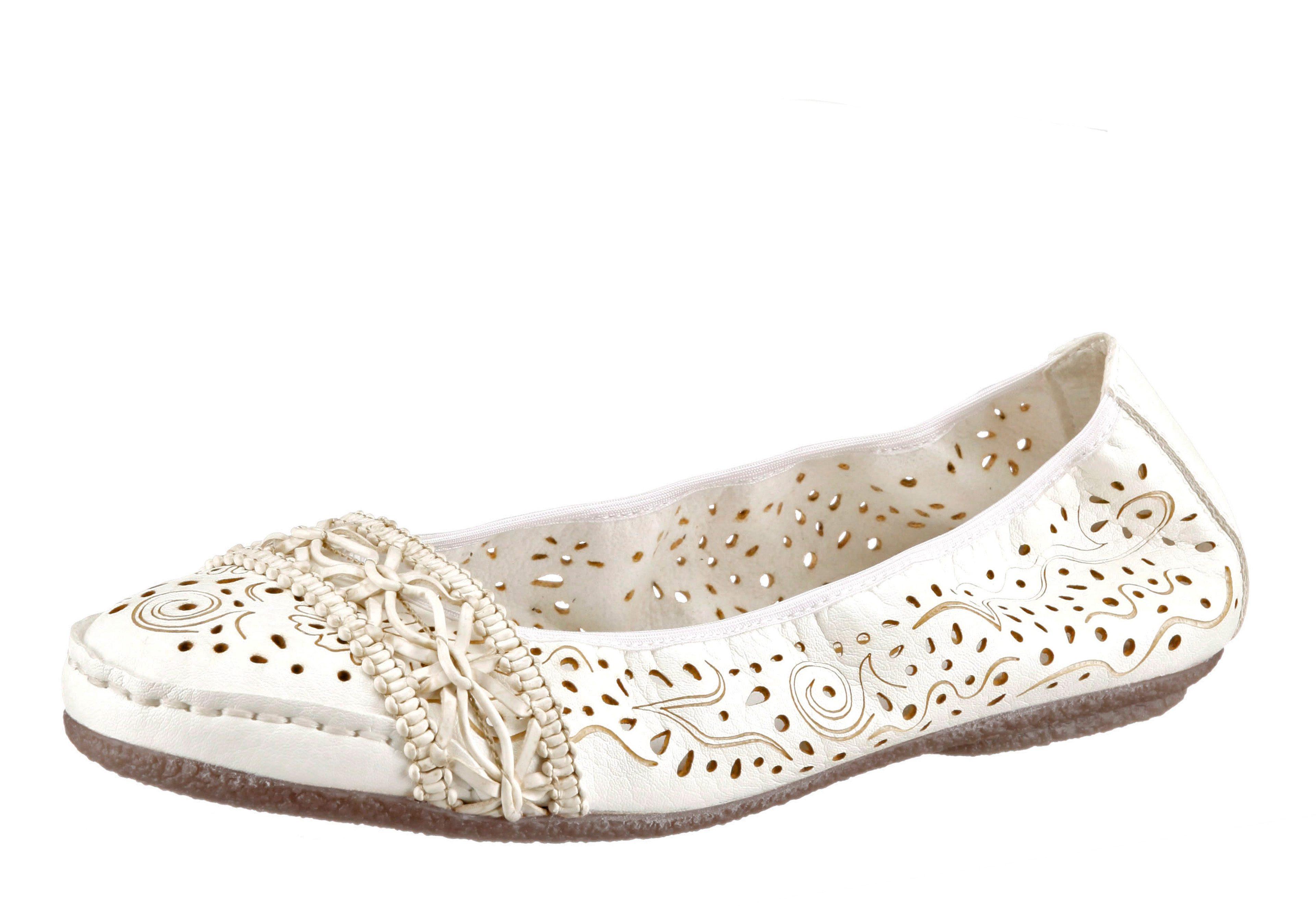 Rieker Ballerina, mit Perforation online kaufen  weiß-beige