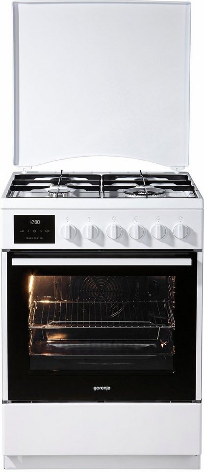 Gorenje Gas-Elektro-Standherd K637E10WKE, A, 60 cm breit in weiß