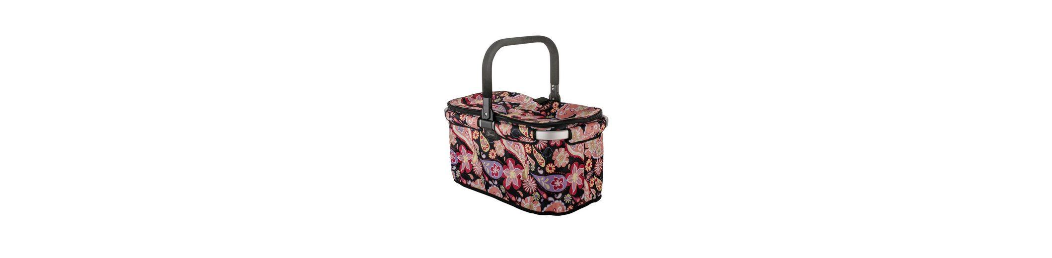 Einkaufskorb, schwarz mit bunten Blüten, »Falko«, Genius®