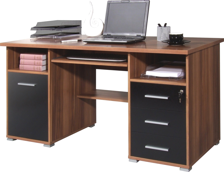 GERMANIA Schreibtisch »0484«, mit Tastaturauszug und abschließbarem Schubkasten | Büro > Bürotische > Schreibtische | Weiß | Abs - Melamin | GERMANIA