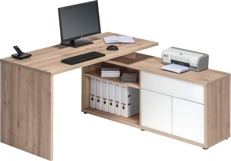Eck-Schreibtisch, Maja Möbel, »4020« in edelbuchefb.-weiß Hochglanz
