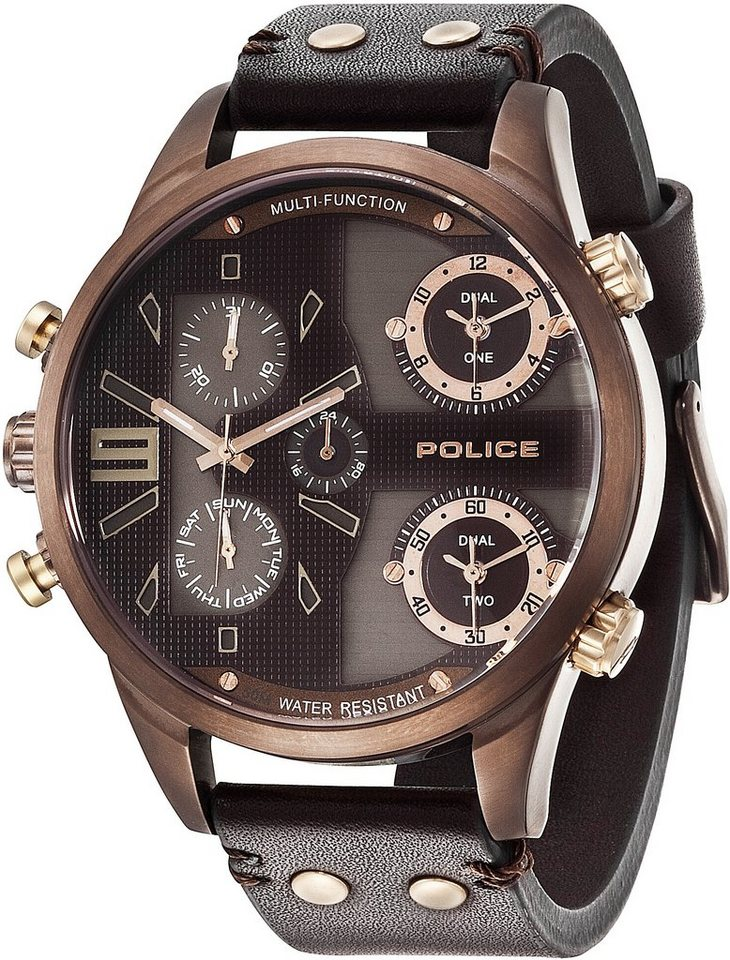 Police Multifunktionsuhr »COPPERHEAD, P14374JSBN-12« in braun