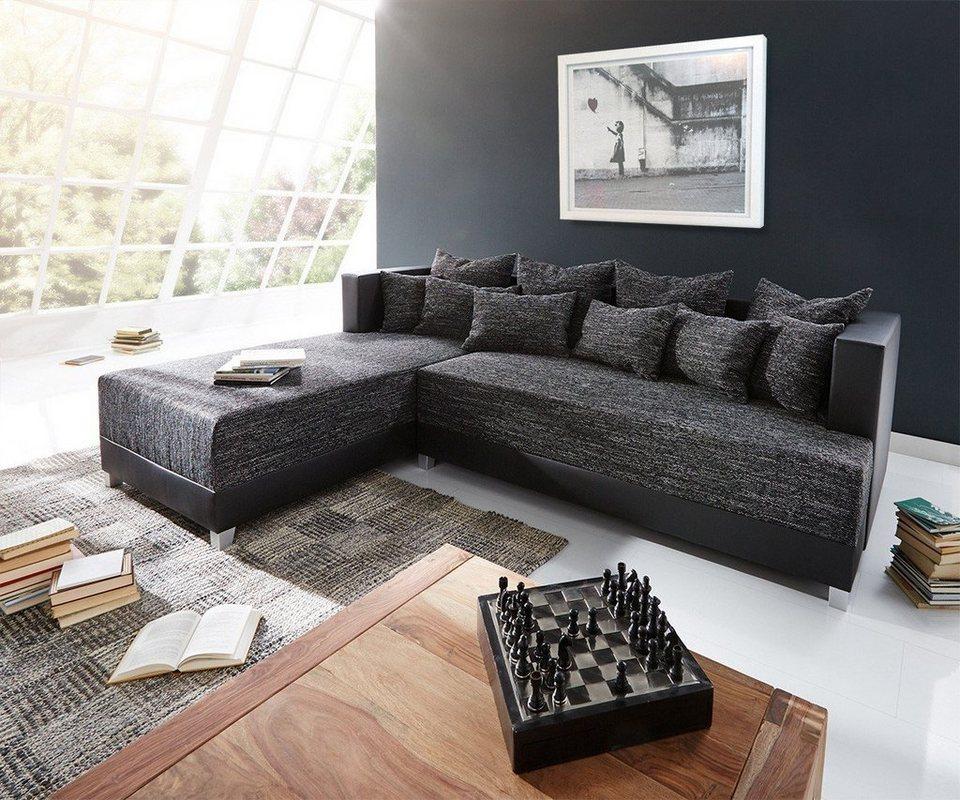 delife couch megara schwarz 276x204 schlaffunktion. Black Bedroom Furniture Sets. Home Design Ideas