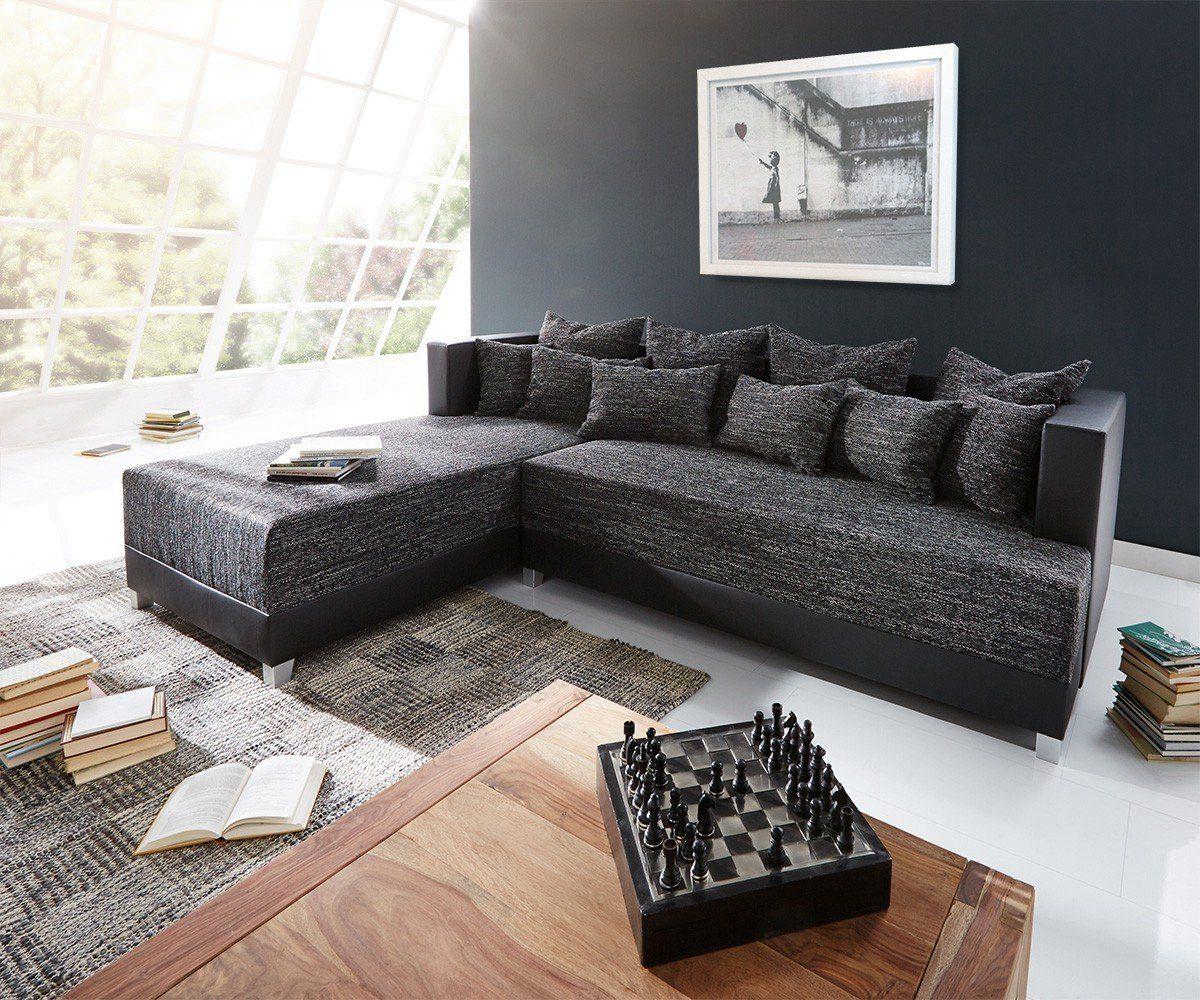 DELIFE Couch Megara Schwarz 276x204 Schlaffunktion