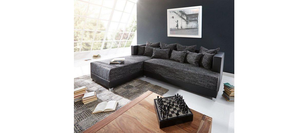 DELIFE Couch Megara Schwarz 276x204 Schlaffunktion Ottomane Links