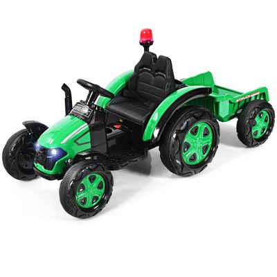 COSTWAY Elektro-Kindertraktor »12V Traktor, Kinder Aufsitztraktor«, mit 2,4G Fernbedienung, Anhänger, Scheinwerfer, Hupe und MP3-Player, für Kinder 3-8 Jahren