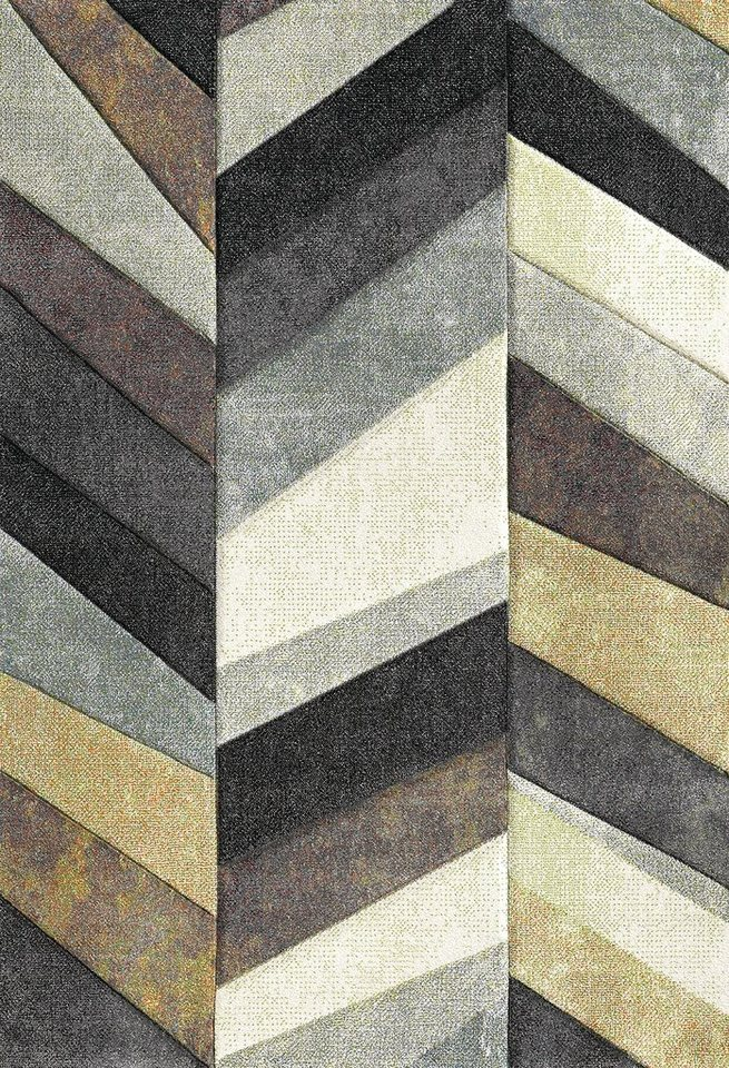 Teppich, Merinos, »BELIS PARKETT«, gewebt, handgearbeiteter Konturenschnitt in natur