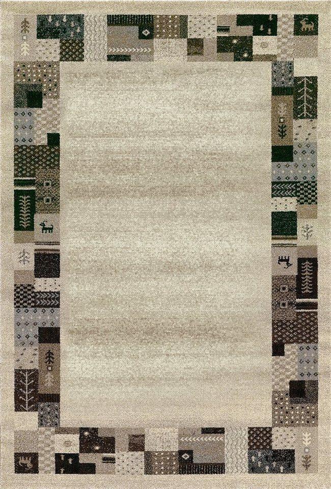 Teppich, Merinos, »ETHNO BORDÜRE«, gewebt in natur
