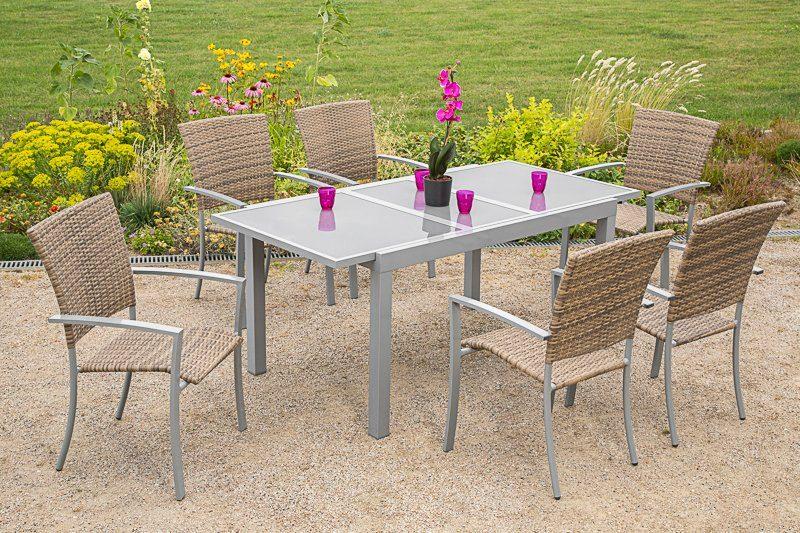 Gartenmöbelset »Savonna«, 6 Sessel, Tisch 140-200 cm, Alu/Polyrattan, beige-braun