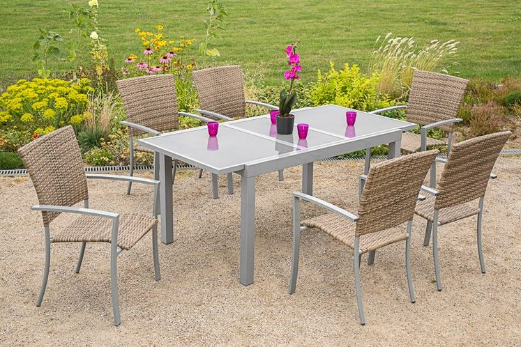 MERXX Gartenmöbelset »Savonna«, 7-tlg., 6 Sessel, Tisch 200x90 cm, Alu/Polyrattan