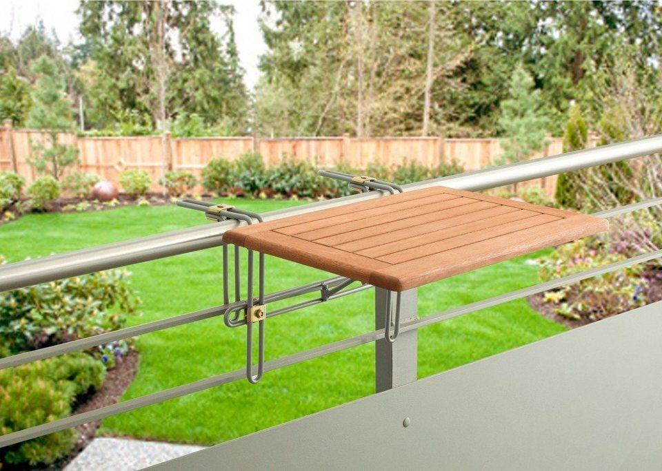 Balkonhängetisch  Balkonhängetisch »Holz«, Eukalyptusholz, klappbar, 60x40 cm online ...