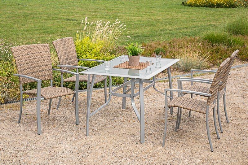 5-tgl. Gartenmöbelset »Savonna«, 4 Sessel, Tisch 135x80 cm, Alu/Kunststoff, beige-braun in beige/braun