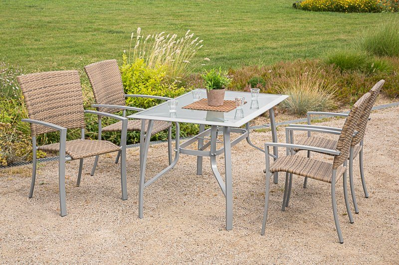 5-tlg. Gartenmöbelset »Savonna«, 4 Sessel, Tisch 135x80 cm, Alu/Kunststoff, beige-braun