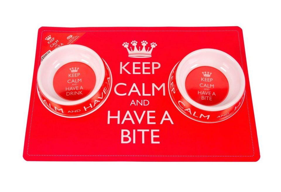 Katzen-Napf-Set »Keep Calm« (8-tlg.) in rot