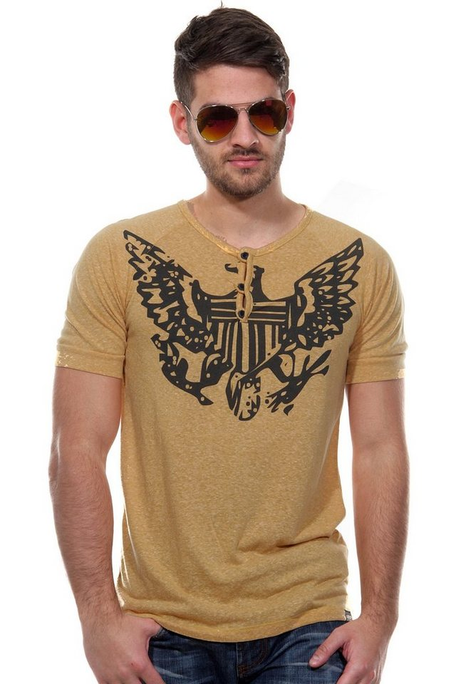 CATCH Henley T-Shirt slim fit in gelb