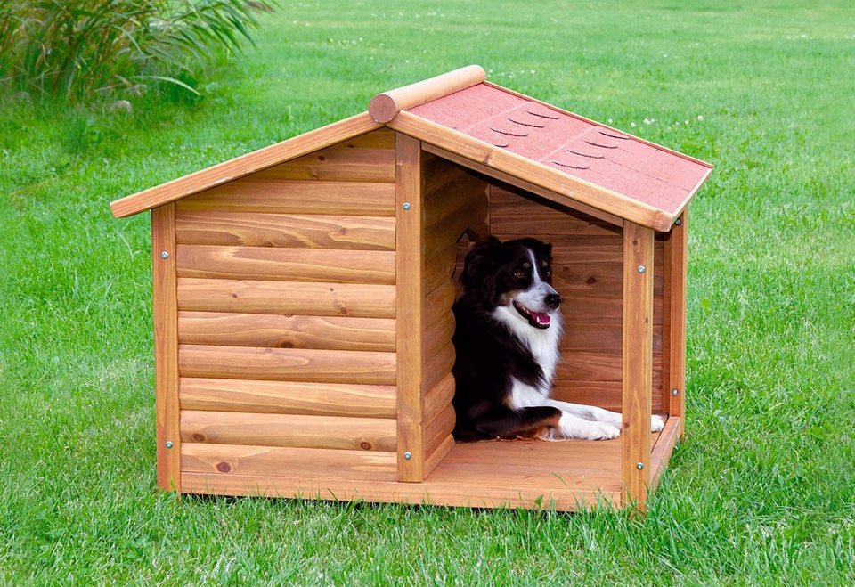 Hundehütte »Hundehütte mit überdachter Terrasse« in natur