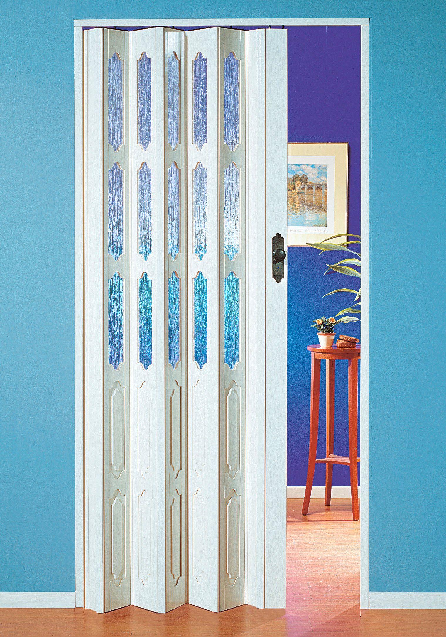 Kunststoff-Falttür, Breite bis 131 cm, weiß-Eschestruktur