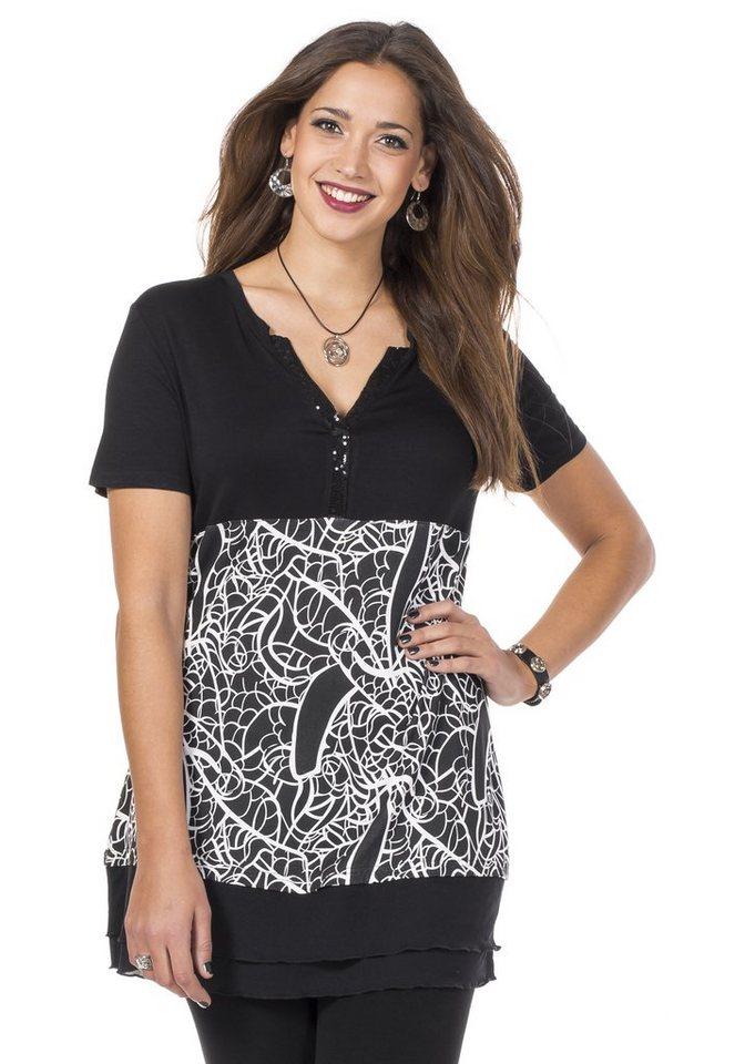 sheego Style Longshirt in schwarz