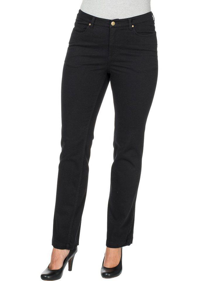 sheego Casual Hose mit seitlicher Beintasche in schwarz