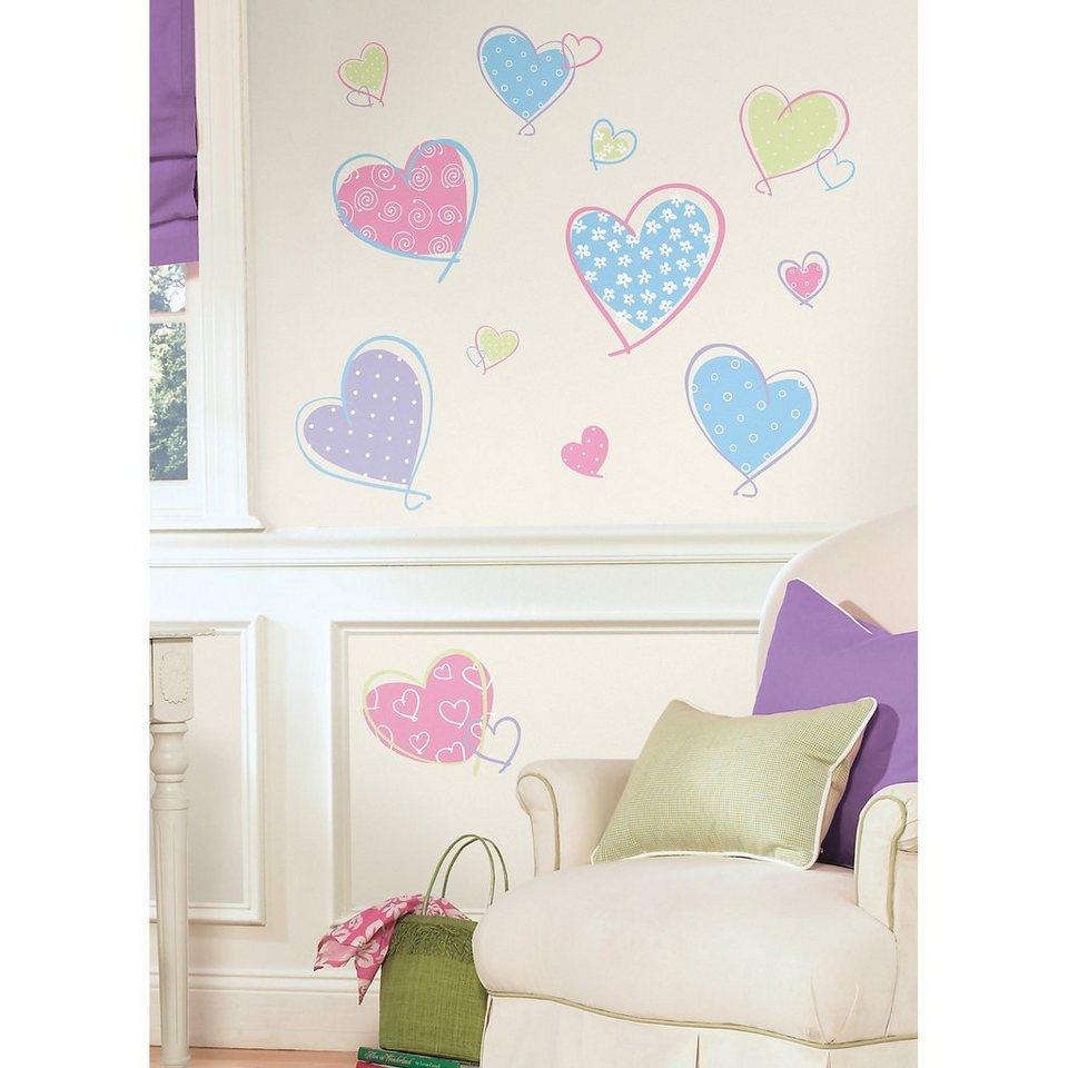 RoomMates Wandsticker Herzen, 16-tlg. in mehrfarbig