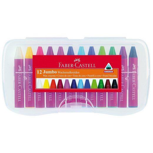 Faber-Castell JUMBO Wachsmalkreiden, 12 Farben in Kunststoffbox