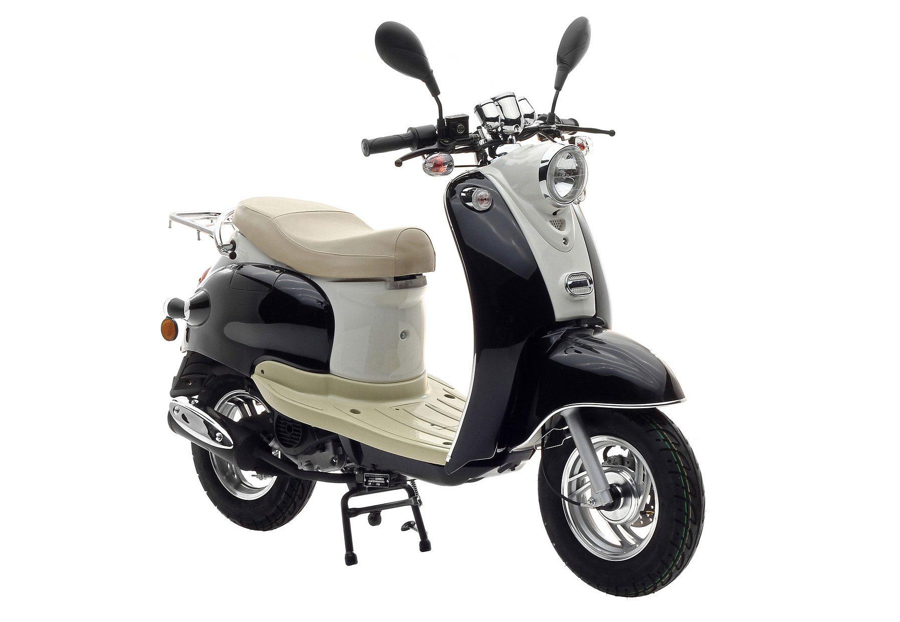 Retro-Mofarroller, Nova Motors, »Venezia II«, 50 ccm 25 km/h, schwarz-weiß