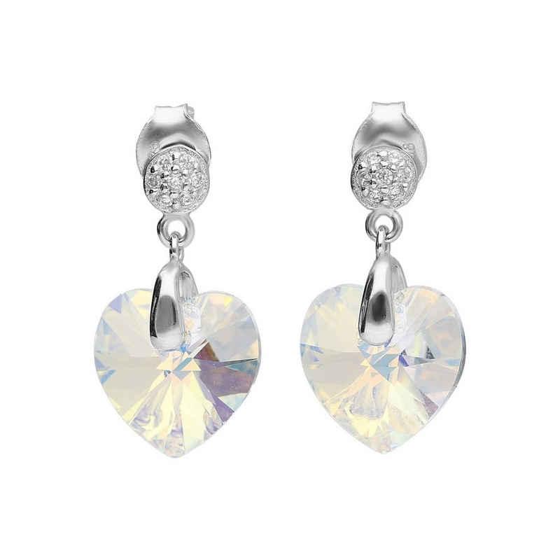 Smart Jewel Paar Ohrstecker »Kristallstein in Herzform, Zirkonia, Silber 925«