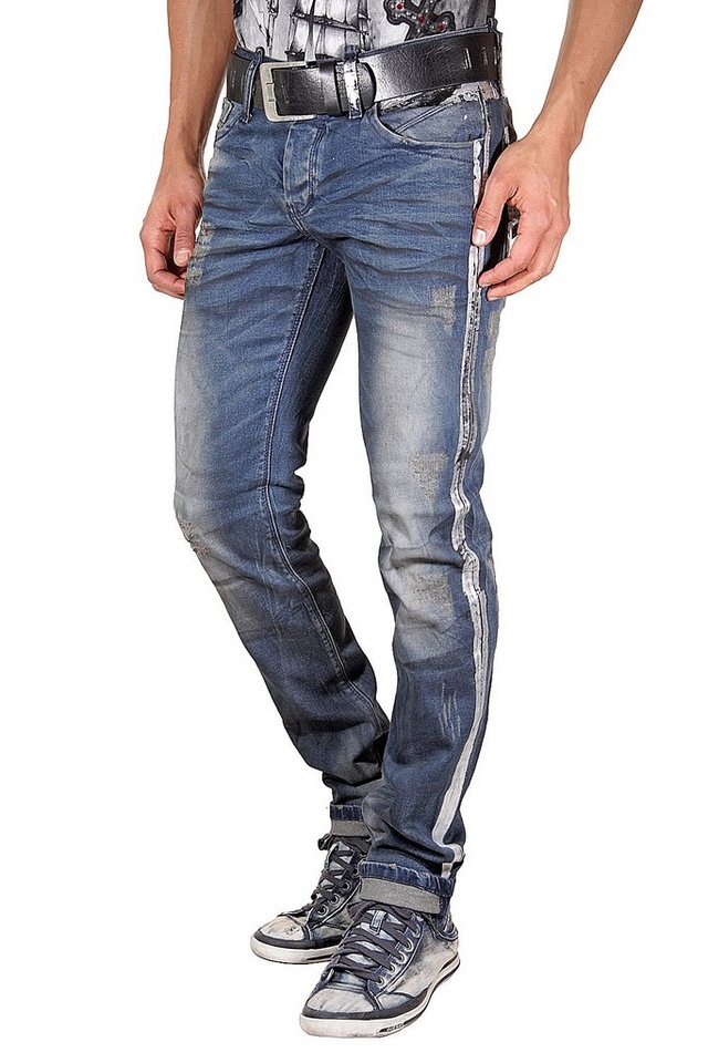 KINGZ Stretchjeans slim fit in blau/silber