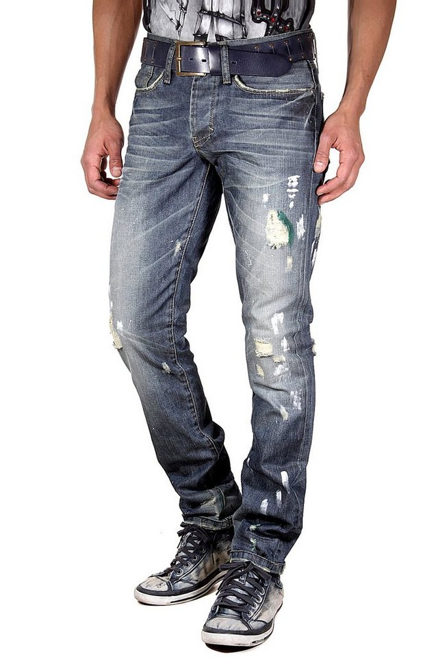 KINGZ Stretchjeans regular fit in blau
