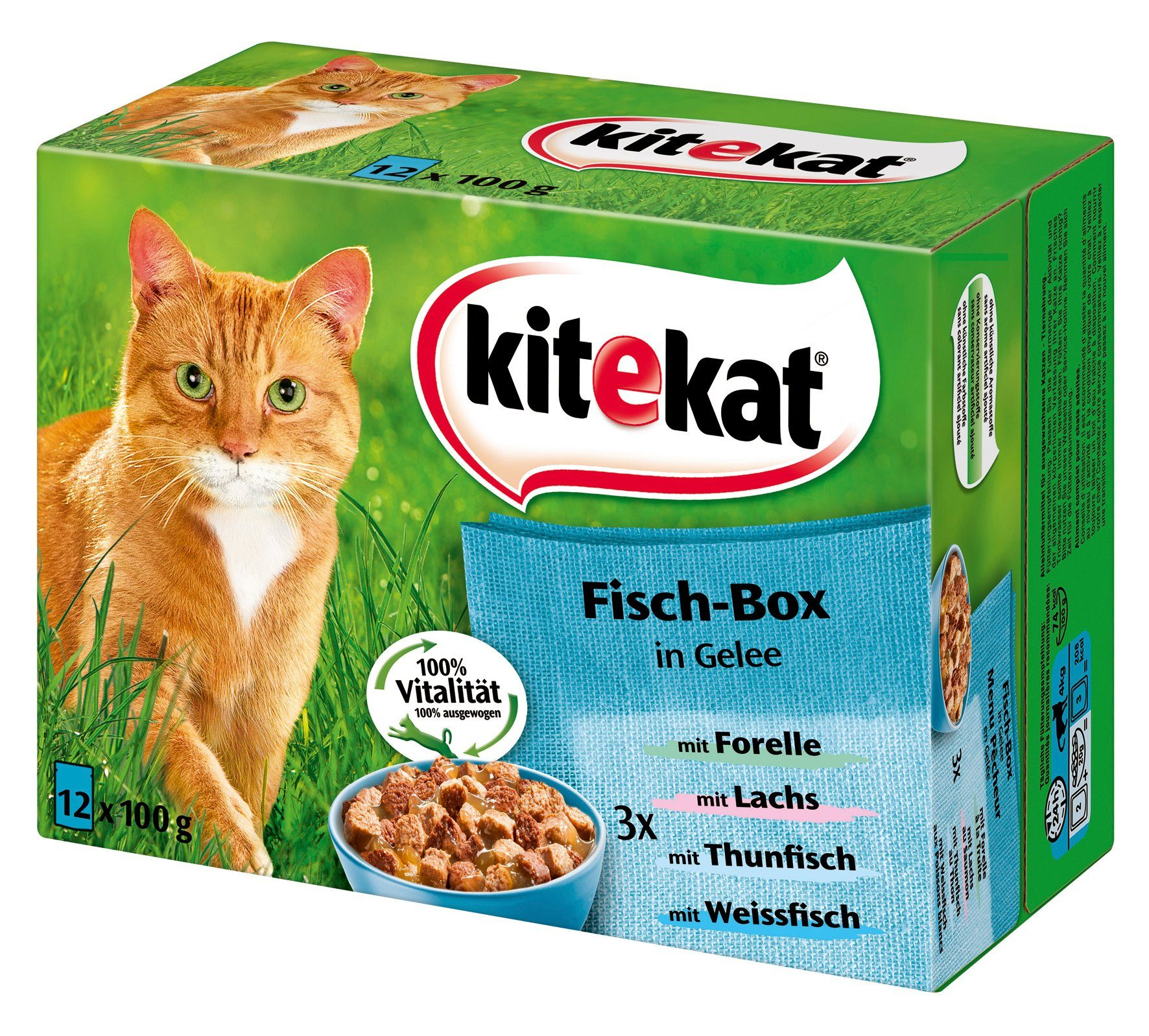 Set: Katzennassfutter »Fisch-Box in Gelee«, 4 Pakete mit je 12 Beuteln á 100 g