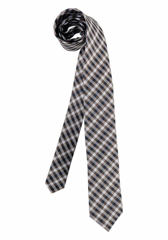 Class International Krawatte in braun-marine-silberfarben-kariert