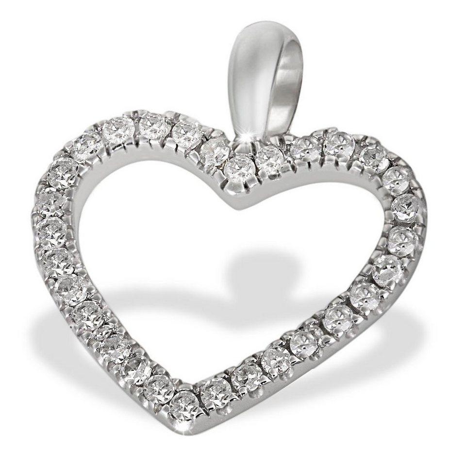 goldmaid Anhänger Herz 585 Weißgold 30 Diamanten 0,16 ct. in silberfarben