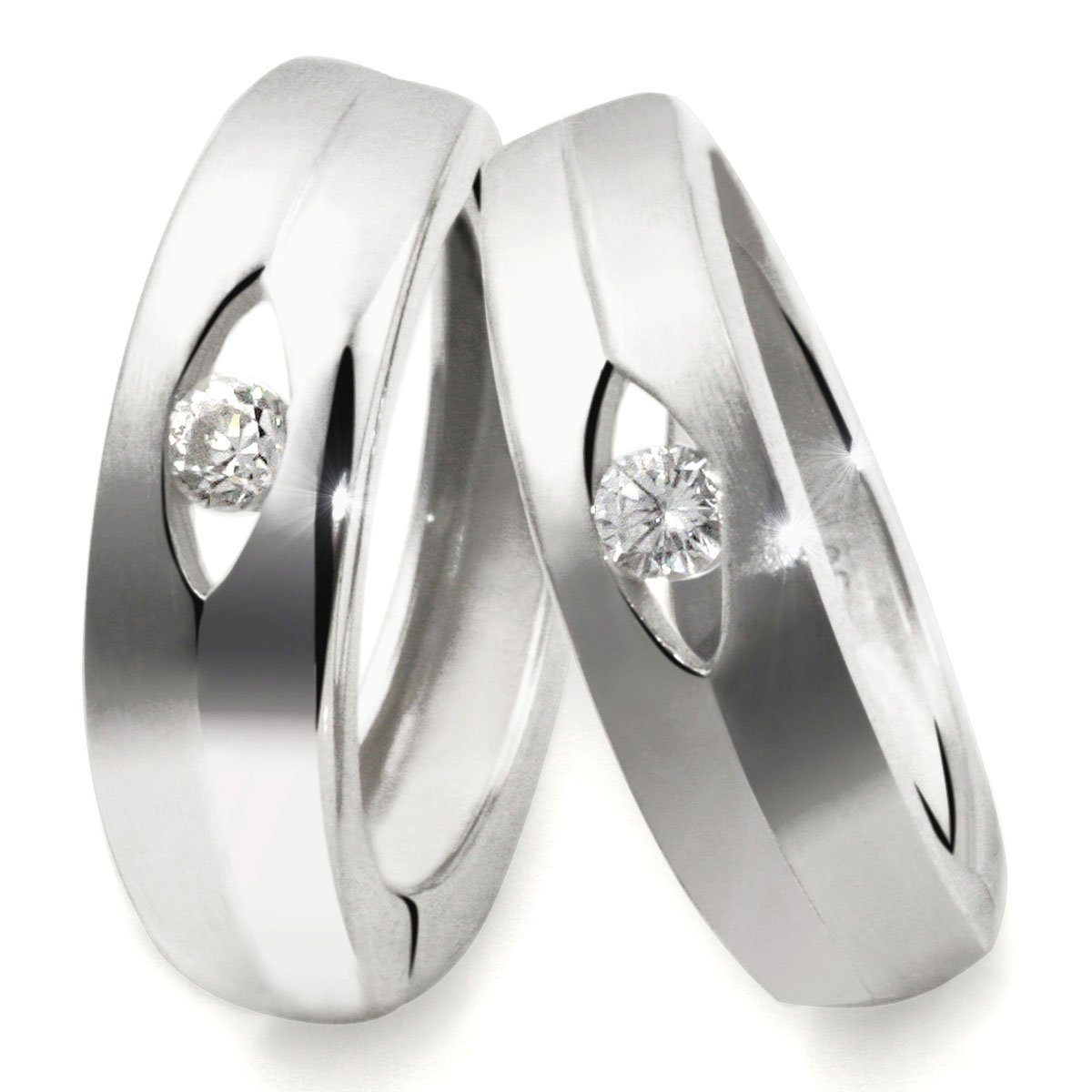 goldmaid Paar Creolen Silber 925/- Creolen matt und glänzend Zirkonia