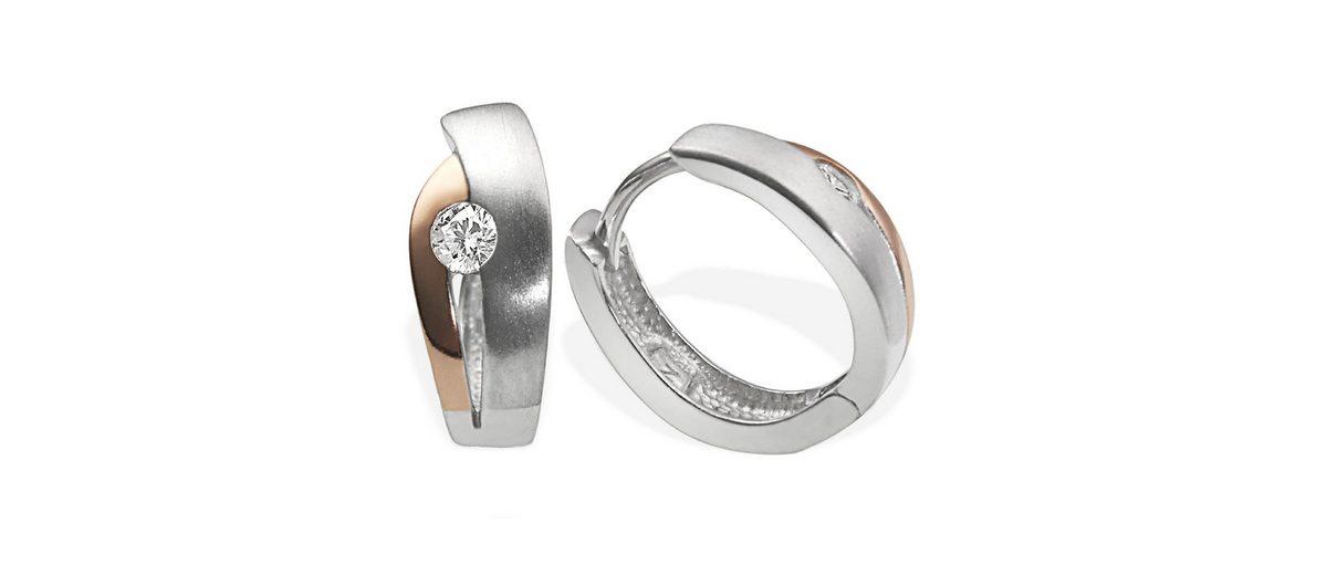 goldmaid Paar Creolen Silber 925/- rot-weiss Optik 1 Zirkonia