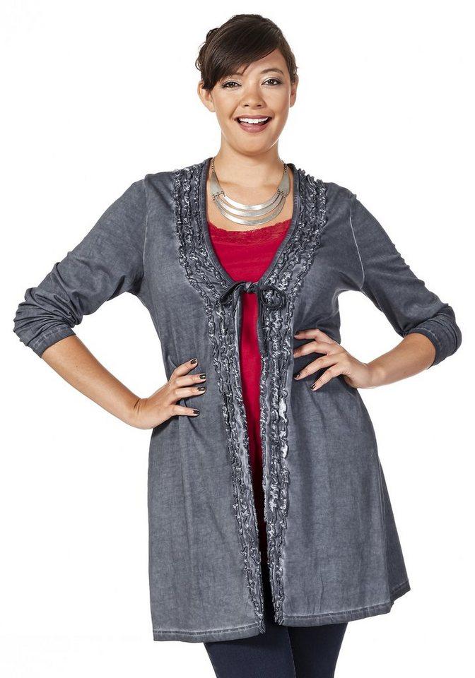 sheego Style Jerseyjacke zum Binden in blau-grau