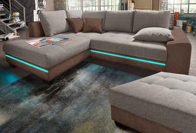 Nova Via Ecksofa »Nikita«, wahlweise mit Kaltschaum (140kg Belastung/Sitz), Bettfunktion, mit RGB-LED-Beleuchtung, wahlweise mit Bluetooth-Soundsystem